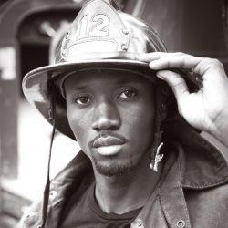 Serious fireman at work.